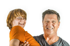 Father and son have fun together. Laughing father and son have fun together Stock Photography