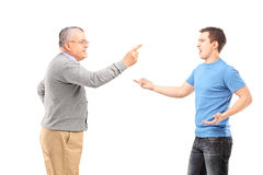 Father and son having an argument. Isolated on white background Royalty Free Stock Photo