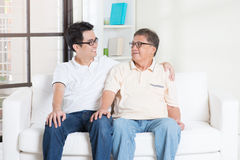 Father and son having conversation Stock Image
