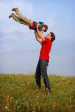 Father and son having fun royalty free stock photo