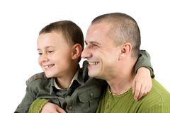 Father and son having fun, isolated on white Royalty Free Stock Photo