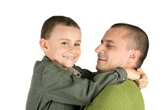 Father and son having fun, isolated on white Stock Images