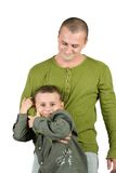 Father and son having fun, isolated on white Royalty Free Stock Photography
