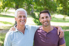 Father and son having fun in the park Stock Image