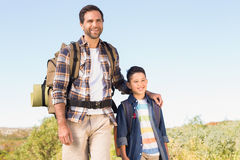Father and son on a hike together Royalty Free Stock Image