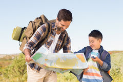 Father and son on a hike together Royalty Free Stock Photos