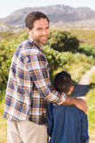 Father and son on a hike together Stock Photos