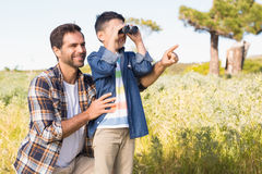 Father and son on a hike together Royalty Free Stock Images