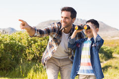 Father and son on a hike together Royalty Free Stock Photo