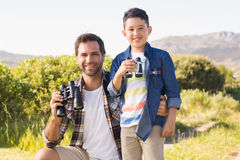 Father and son on a hike together Royalty Free Stock Photography