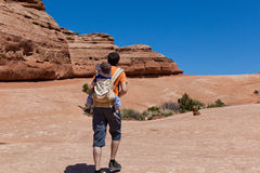 Father and son hiking Royalty Free Stock Photography