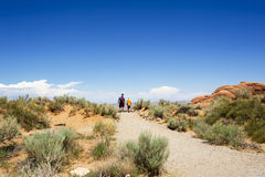 Father and Son Hiking - Arches National Park Royalty Free Stock Photo