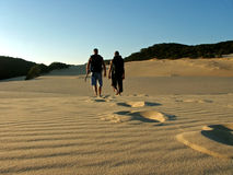 Father and son hiking fraser island. Dunes near lake wobby in australia Stock Image