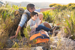 Father and son hiking in the mountains Stock Photography