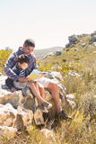 Father and son hiking in the mountains Royalty Free Stock Photo