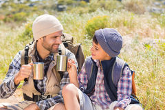 Father and son hiking in the mountains Royalty Free Stock Photography