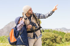 Father and son hiking in the mountains Stock Image