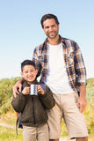 Father and son hiking in the mountains Royalty Free Stock Photos
