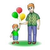 Father and son hold hands, go for a walk, father`s day holiday. Vector illustration, father and son hold hands, go for a walk, father`s day holiday stock illustration