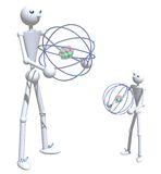 Father and son holding atoms. Stick figures of a father and son holding atom shapes on a white isolated background Stock Images