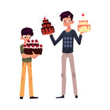 Father and son holding birthday cakes, getting ready for party Royalty Free Stock Photography