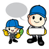 Father and son are holding fish. Work and Job Character Design S Stock Image