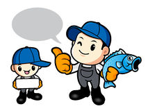 Father and son are holding fish. Work and Job Character Design S Royalty Free Stock Images