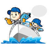 Father and son are holding fish. Work and Job Character Design S Stock Photos