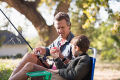 Father and son holding fishing equipment on sunny day. In forest royalty free stock photo