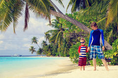 Father and son holding hands on the beach Royalty Free Stock Photography