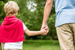 Father and son holding hands. And walking as family in the nature royalty free stock photo