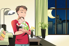Father and son at home. A vector illustration of a father and a son spending time at home Stock Photography