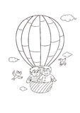 Father and son are in a hot air balloon. In the sky,Two birds are flying Royalty Free Stock Photography