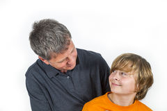 Father and son hugging Stock Image