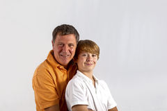 Father and son hugging. Father and son have fun and hugging together Royalty Free Stock Photos