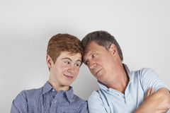 Father and son hugging Stock Photography