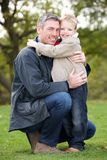 Father And Son Hugging Outdoor Royalty Free Stock Image