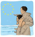 Father and son immigrants. In front of the European flag royalty free illustration