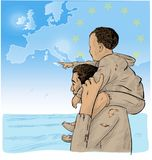 Father and son immigrants. In front of the European map. vector illustration stock illustration