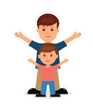 Father and son. Isolated vector people in a flat style Royalty Free Stock Image