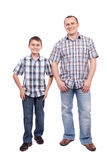 Father and son isolated on white Royalty Free Stock Images