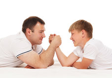 Father and son isolated on white Royalty Free Stock Photo
