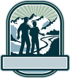 Father Son Journey Mountains Crest Retro Royalty Free Stock Image