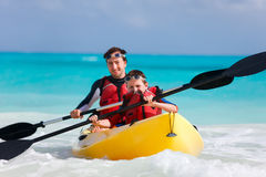 Father and son kayaking Royalty Free Stock Photo