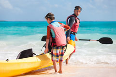 Father and son kayaking Royalty Free Stock Photography