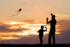 Father and son with kite. Illustration of father and son with kite Royalty Free Stock Images