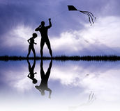 Father and son with kite Stock Images