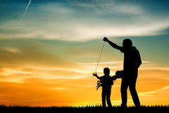 Father and son with kite Royalty Free Stock Photography