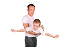 Father with son like airplane Stock Images