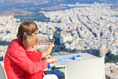 Father and son looking at Athens, Greece Royalty Free Stock Photo